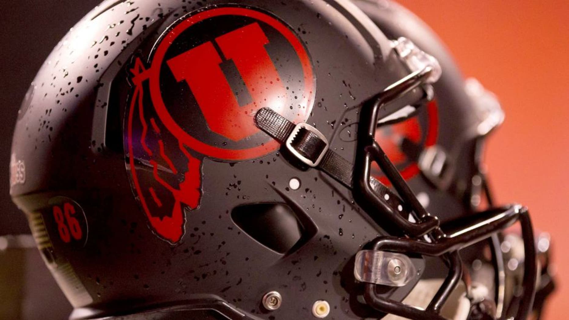 November 17, 2012; Salt Lake City, UT, USA; A Utah Utes helmet photographed during a game against the Arizona Wildcats at Rice-Eccles Stadium. The Wildcats defeated the Utes 34-24. Mandatory Credit: Russ Isabella-USA TODAY Sports