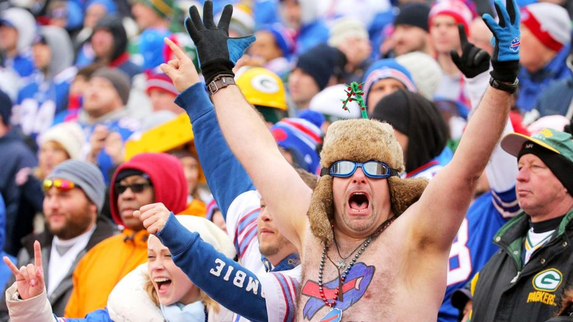 A Buffalo Bills fan watches the game against the Green Bay Packers at Ralph Wilson Stadium on December 14, 2014 in Orchard Park, New York. (Photo by Brett Carlsen/Getty Images)