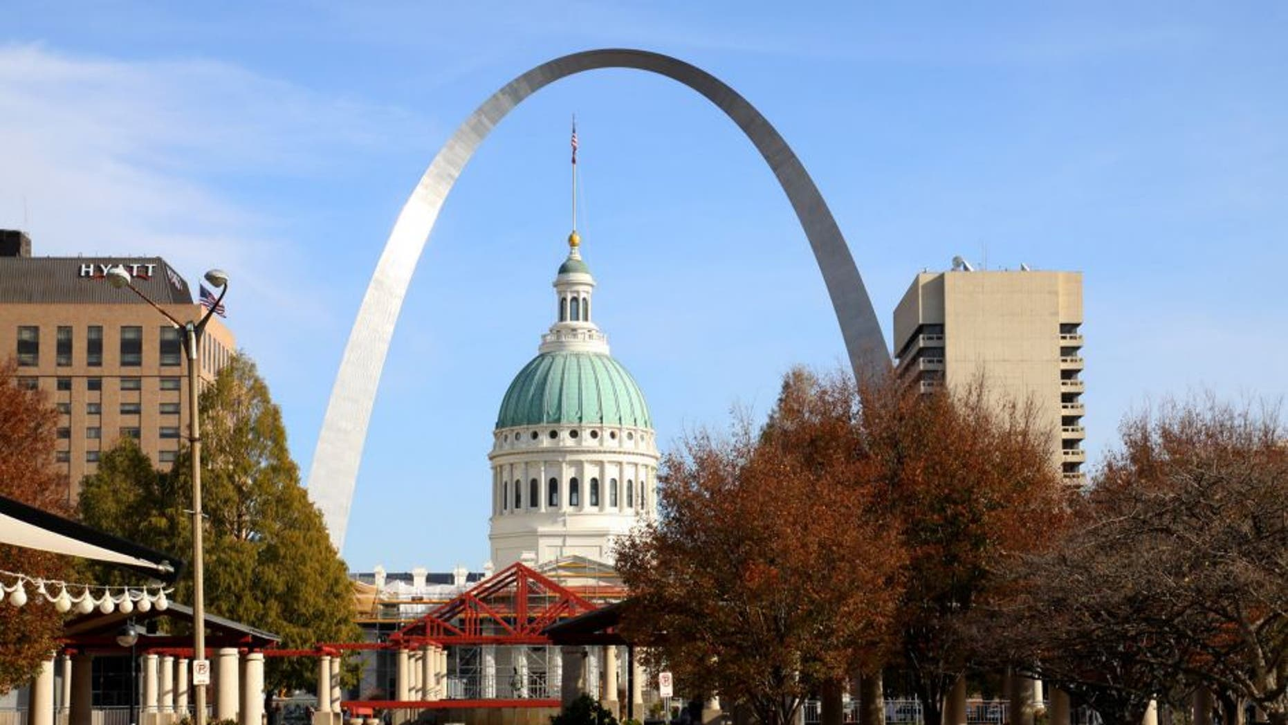 ST. LOUIS, MO - NOVEMBER 02: Old Court House and Gateway Arch, as photographed from Citygarden in St. Louis, Missouri on NOVEMBER 02, 2012. (Photo By Raymond Boyd/Michael Ochs Archives/Getty Images)