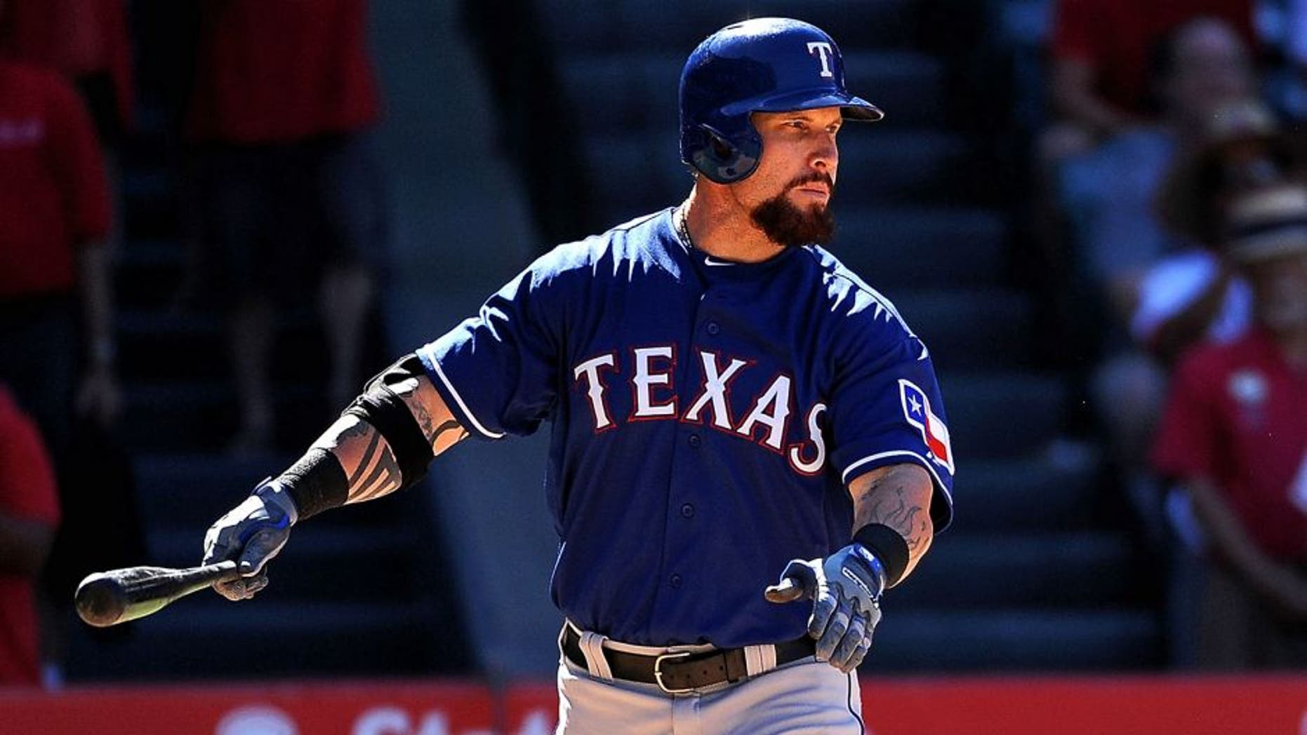 ANAHEIM, CA - JULY 26: Josh Hamilton #32 of the Texas Rangers bats during a game against the Los Angeles Angels of Anaheim at Angel Stadium of Anaheim on July 26, 2015 in Anaheim, California. (Photo by Jonathan Moore/Getty Images)
