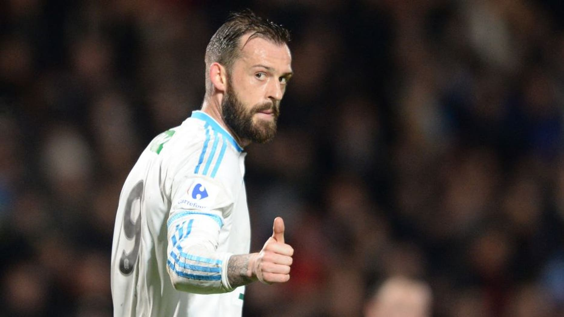 Marseille's Scottish forward Steven Fletcher reacts during the French Cup football match Trelissac vs Marseille on February 11, 2016 at the Chaban-Delmas stadium in Bordeaux, southwestern France. AFP PHOTO / NICOLAS TUCAT / AFP / NICOLAS TUCAT (Photo credit should read NICOLAS TUCAT/AFP/Getty Images)