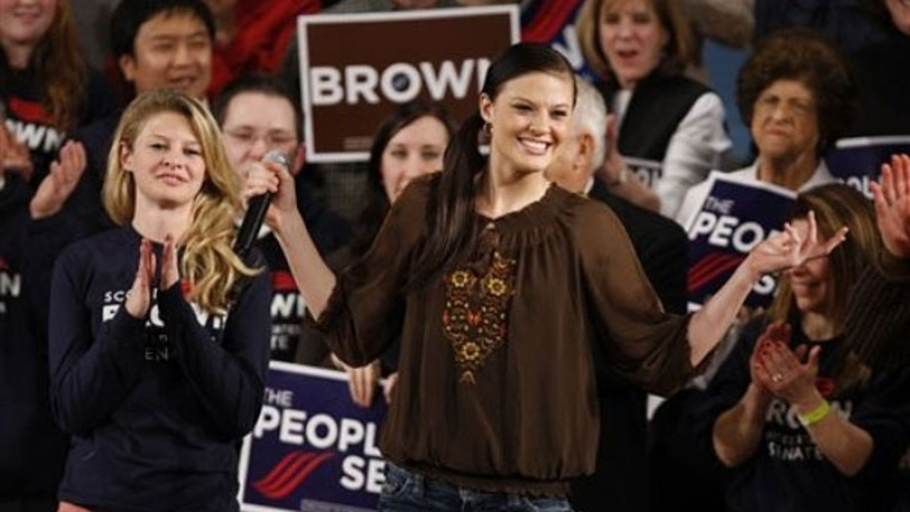 FILE: The daughters of Massachusetts Sen. Scott Brown, Ayla, right, a student at Boston College, and Arianna, left, a student at Syracuse University, are introduced at a campaign rally in Worcester, Mass., on Jan. 17. (AP).