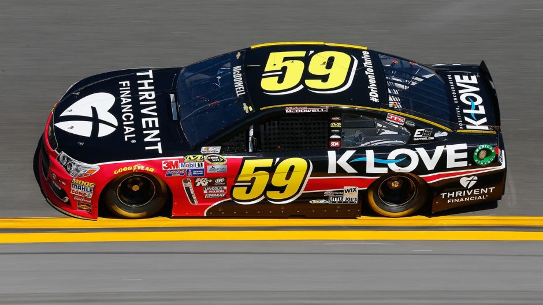 DAYTONA BEACH, FL - FEBRUARY 13: Michael McDowell, driver of the #59 Thrivent Financial Chevrolet, practices for the NASCAR Sprint Cup Series Daytona 500 at Daytona International Speedway on February 13, 2016 in Daytona Beach, Florida. (Photo by Jonathan Ferrey/NASCAR via Getty Images)