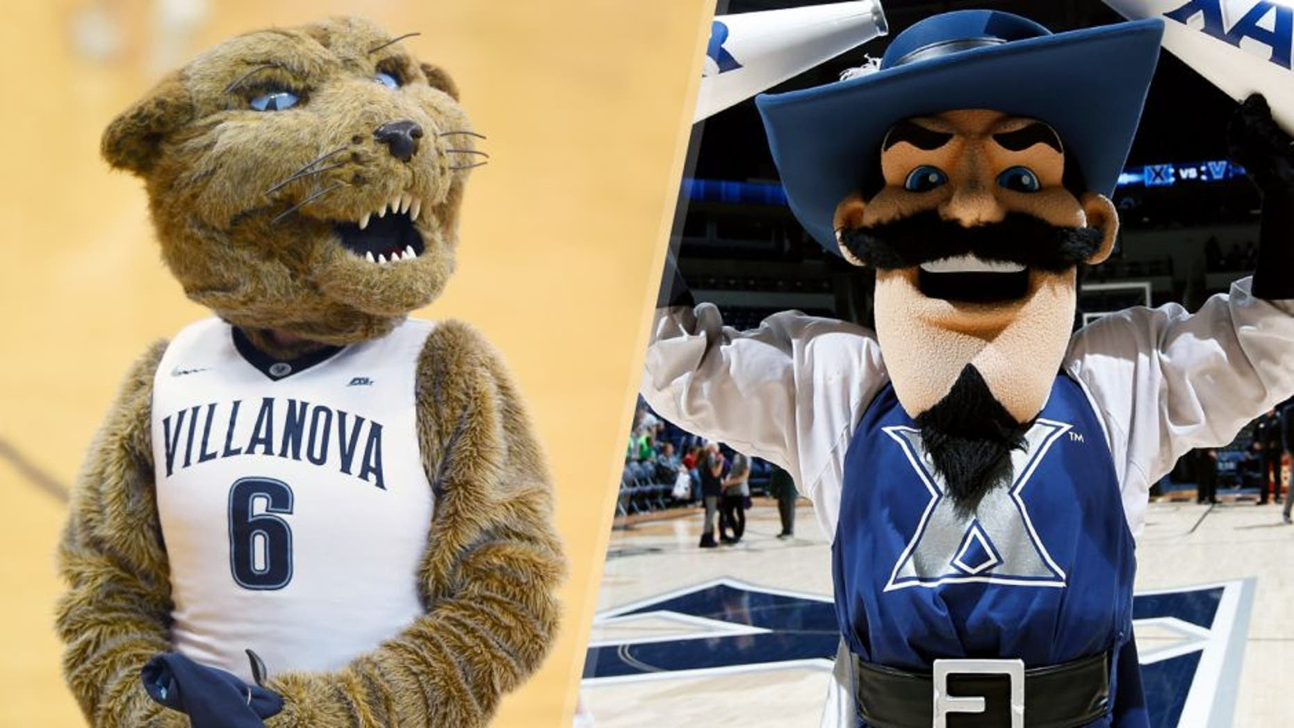 VILLANOVA, PA - DECEMBER 31: The Villanova Wildcats mascot on the floor during a college basketball game against the Xavier Musketeers at The Pavilion on December 31, 2015 in Villanova, Pennsylvania. The Wildcats won 95-64. (Photo by Mitchell Layton/Getty Images) CINCINNATI, OH - FEBRUARY 17: Xavier Musketeers mascot D'Artagnan celebrates after the game against the Providence Friars at Cintas Center on February 17, 2016 in Cincinnati, Ohio. Xavier defeated Providence 85-74. (Photo by Joe Robbins/Getty Images)