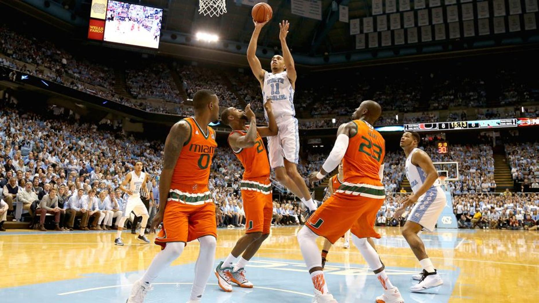 CHAPEL HILL, NC - FEBRUARY 20: Brice Johnson #11 of the North Carolina Tar Heels shoots over Kamari Murphy #21 of the Miami Hurricanes during their game at Dean Smith Center on February 20, 2016 in Chapel Hill, North Carolina. (Photo by Streeter Lecka/Getty Images)