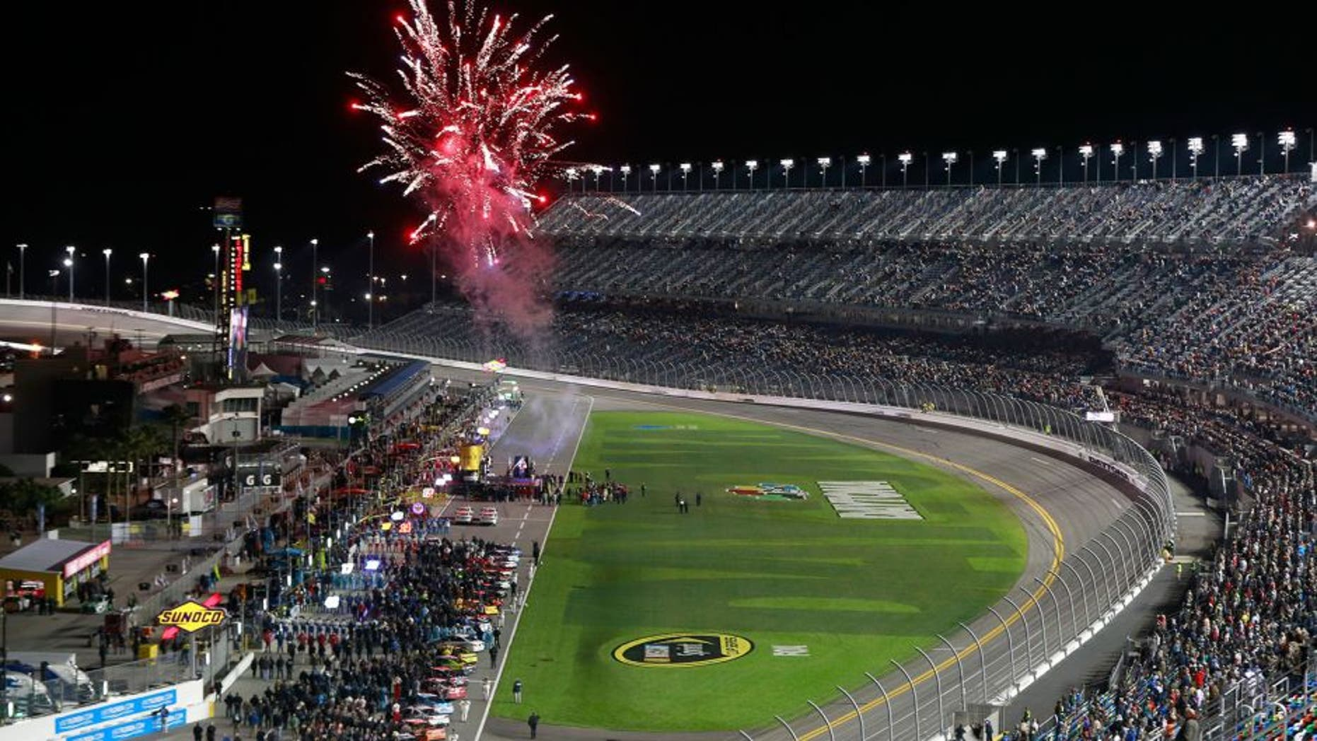 DAYTONA BEACH, FL - FEBRUARY 13: A general view of the speedway while drivers are introduced prior the NASCAR Sprint Cup Series Sprint Unlimited at Daytona International Speedway on February 13, 2016 in Daytona Beach, Florida. (Photo by Matt Sullivan/Getty Images)