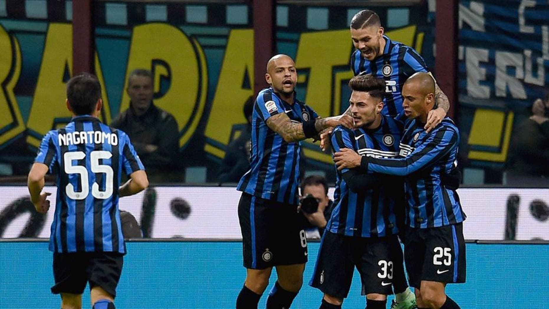 MILAN, ITALY - FEBRUARY 20: Danilo D'Ambrosio of FC Internazionale (C) celebrates after scoring the opening goal during the Serie A match between FC Internazionale Milano and UC Sampdoria at Stadio Giuseppe Meazza on February 20, 2016 in Milan, Italy. (Photo by Claudio Villa - Inter/Inter via Getty Images)