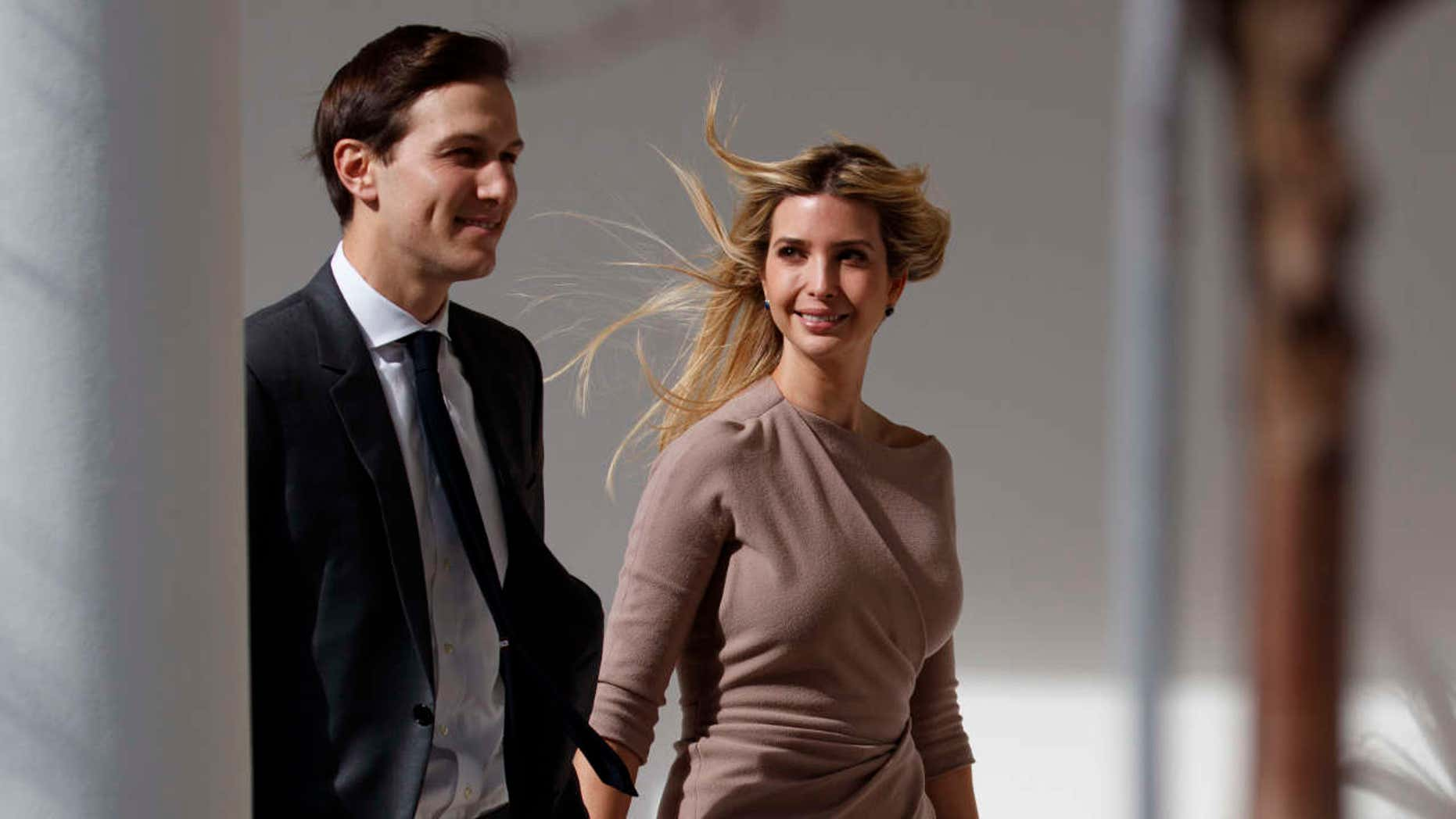 Ivanka Trump, right, walks with her husband Jared Kushner, senior adviser to the president, to a news conference with President Donald Trump and Japanese Prime Minister Shinzo Abe, Friday, Feb. 10, 2017, at the White House in Washington