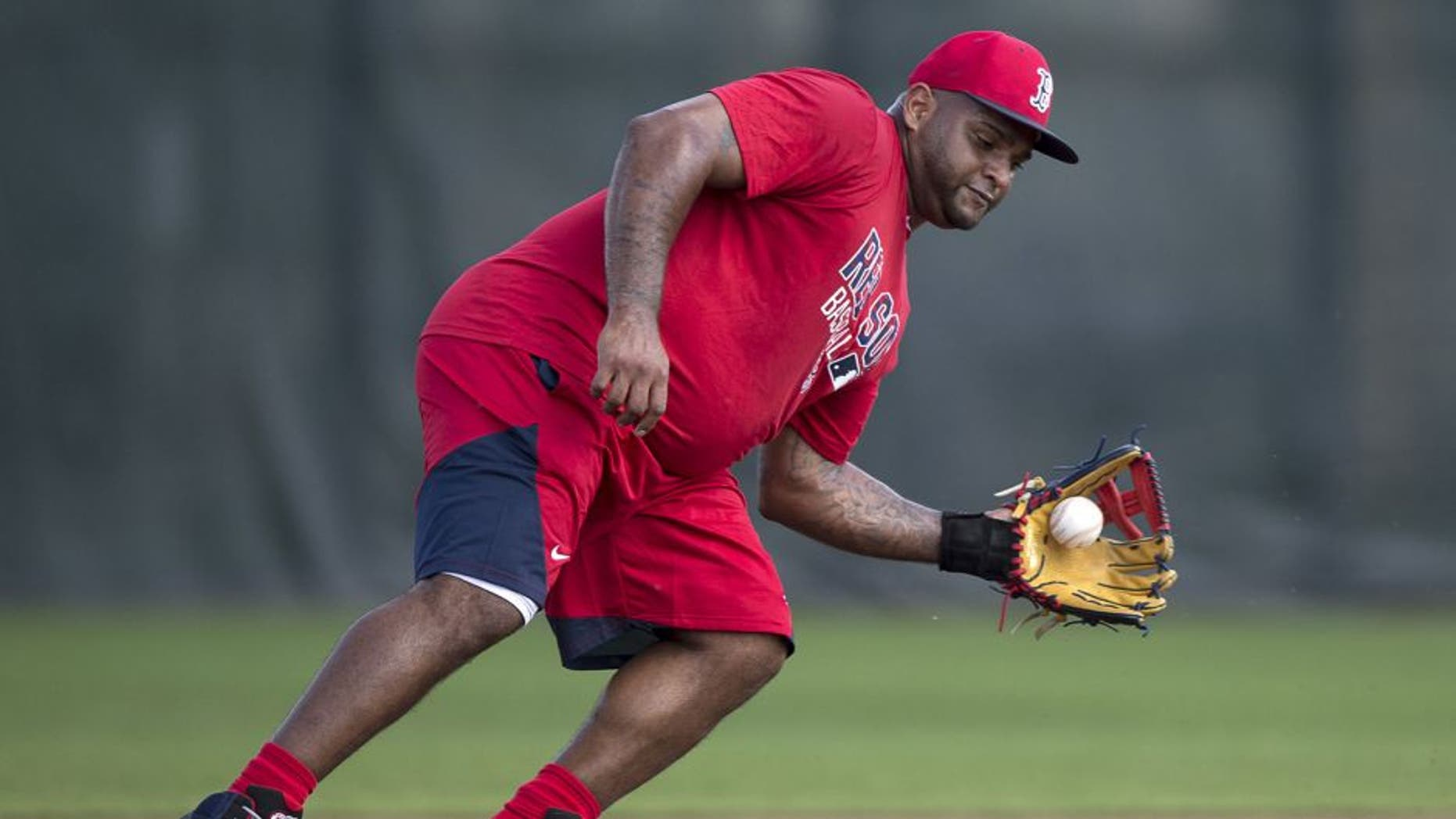 FT. MYERS, FL - FEBRUARY 21: Pablo Sandoval #48 of the Boston Red Sox fields a ground ball from third base on February 21, 2016 at Fenway South in Fort Myers, Florida . (Photo by Michael Ivins/Boston Red Sox/Getty Images)