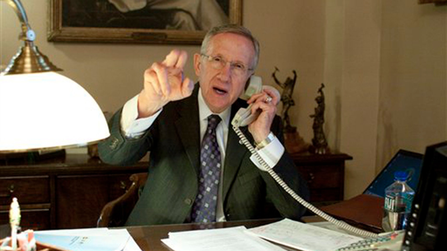 Senate Majority Leader Harry Reid, D-Nev., gestures as he takes a call in his office prior to the jobs bill cloture vote on Capitol Hill in Washington, Monday, Feb. 22, 2010. (AP)