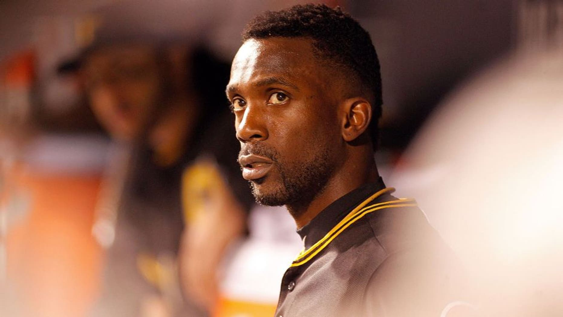 PITTSBURGH, PA - OCTOBER 07: Andrew McCutchen #22 of the Pittsburgh Pirates looks on in the dugout in the third inning during the National League Wild Card game against the Chicago Cubs at PNC Park on October 7, 2015 in Pittsburgh, Pennsylvania. (Photo by Justin K. Aller/Getty Images)