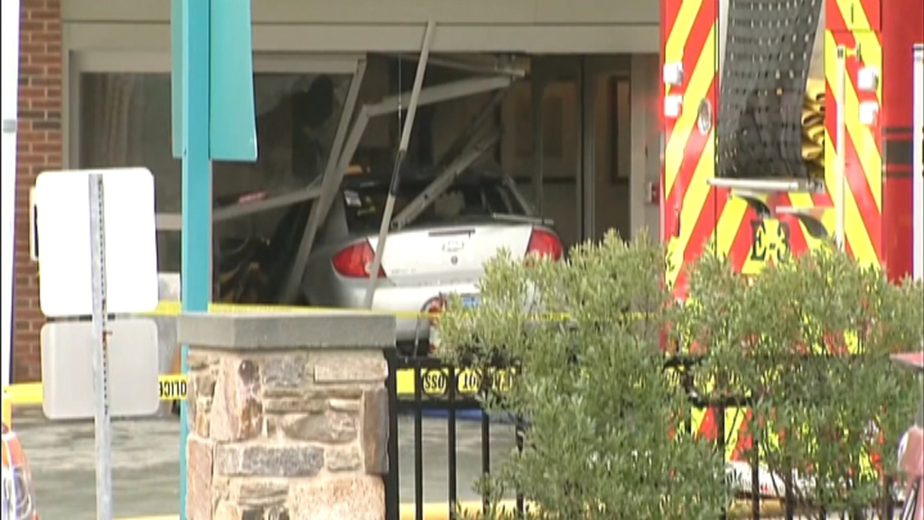 A car crashed into the emergency room entrance of Middlesex Hospital Thursday.