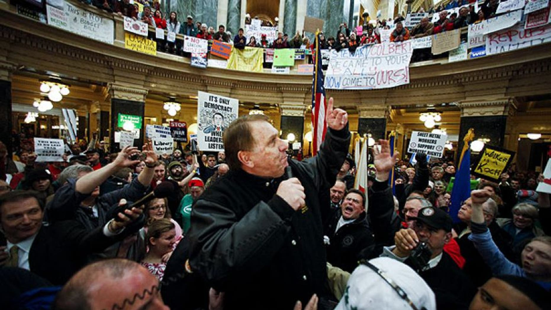 Febraury 23, 2011:  Teamsters President James Hoffa speaks at a rally in the state Capitol in Madison, Wis. (AP)