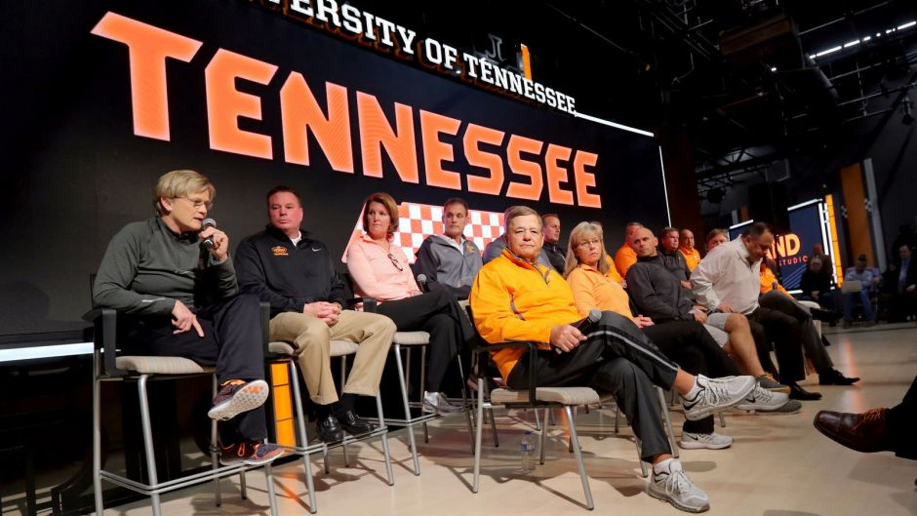 Feb 23, 2016; Knoxville, TN, USA; Tennessee Lady Volunteers head coach Holly Warlick speaks during the joint head coach press conference at Brenda Lawson Athletic Center. Mandatory Credit: Randy Sartin-USA TODAY Sports