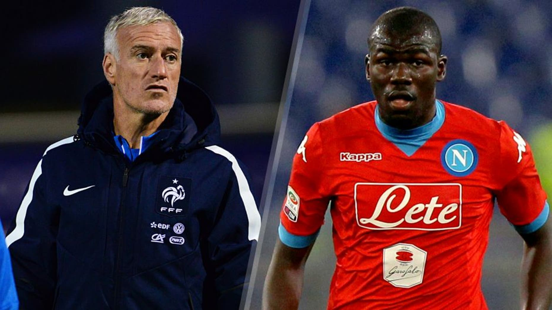 CLAIREFONTAINE, FRANCE - NOVEMBER 10: France head coach Didier Deschamps during the second training session four days ahead of the friendly match against Germany on November 10, 2015 in Clairefontaine, France. (Photo by Frederic Stevens/Getty Images) ROME, ITALY - FEBRUARY 03: Kalidou Koulibaly of SSC Napoli in action during the Serie A match between SS Lazio and SSC Napoli at Stadio Olimpico on February 3, 2016 in Rome, Italy. (Photo by Paolo Bruno/Getty Images)