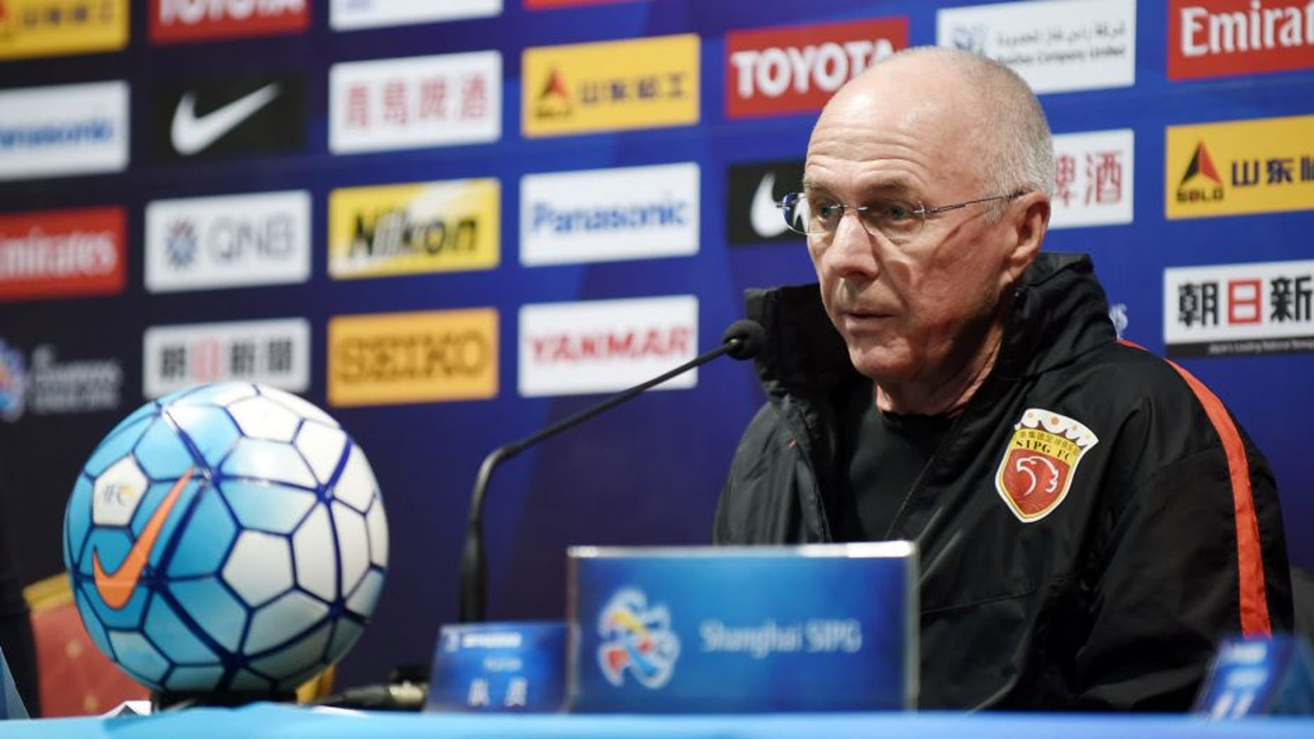 SHANGHAI, CHINA - FEBRUARY 08: (CHINA OUT) Head coach Sven-Goran Eriksson of Shanghai SIPG attends a press conference ahead of the third round match of the preliminaries in AFC Champions League 2016 on February 8, 2016 in Shanghai, China. (Photo by ChinaFotoPress/ChinaFotoPress via Getty Images)