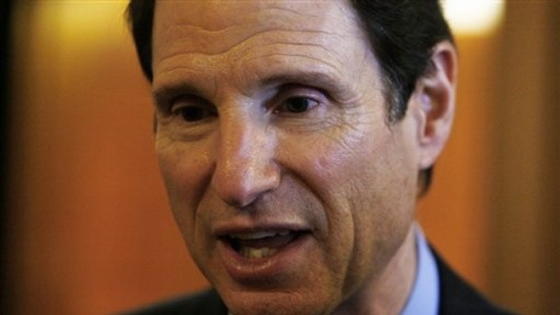 Oct. 14, 2009: Sen. Ron Wyden, D-Ore. speaking to reporters on Capitol Hill in Washington.
