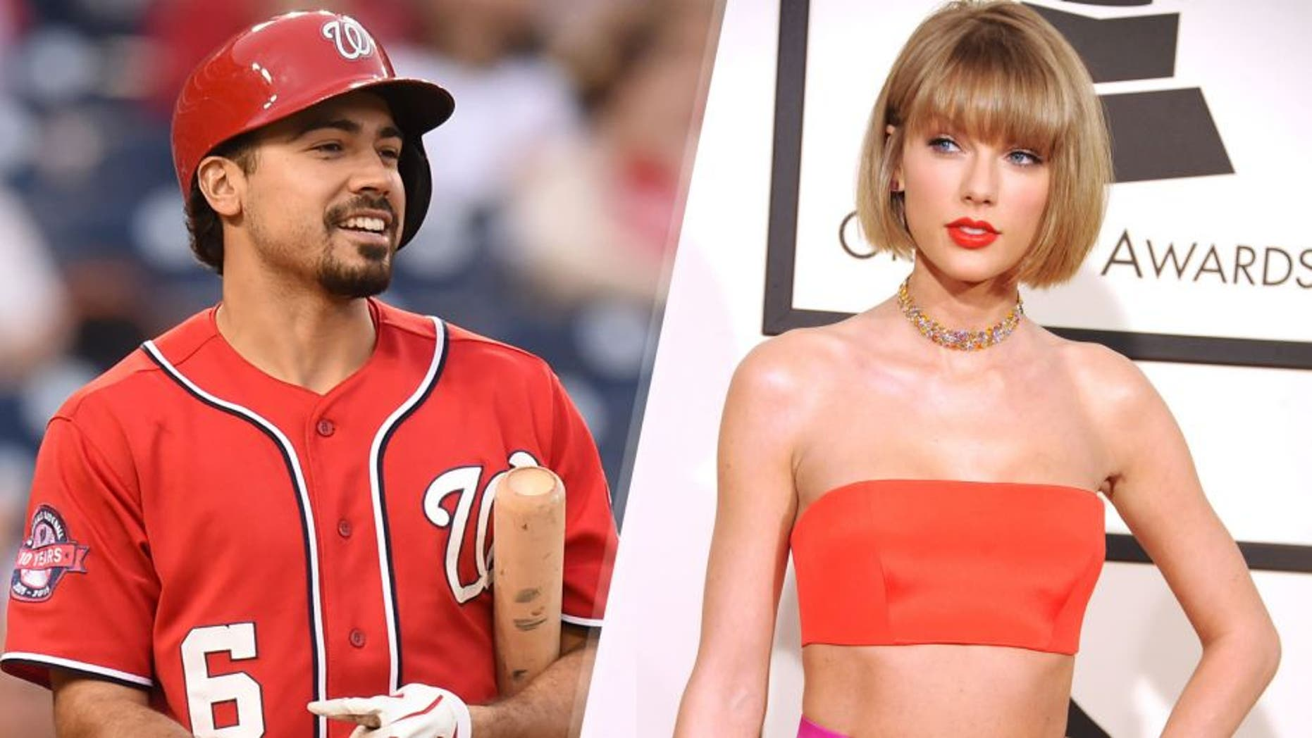 WASHINGTON, DC - SEPTEMBER 26: Anthony Rendon #6 of the Washington Nationals looks on during a baseball game against the Philadelphia Phillies at Nationals Park on September 26, 2015 in Washington, DC. The Nationals won 2-0. (Photo by Mitchell Layton/Getty Images) LOS ANGELES, CA - FEBRUARY 15: Taylor Swift attends the 58th GRAMMY Awards at Staples Center February 15, 2016 in Los Angeles, California. (Photo by Sammy Smith/WireImage)