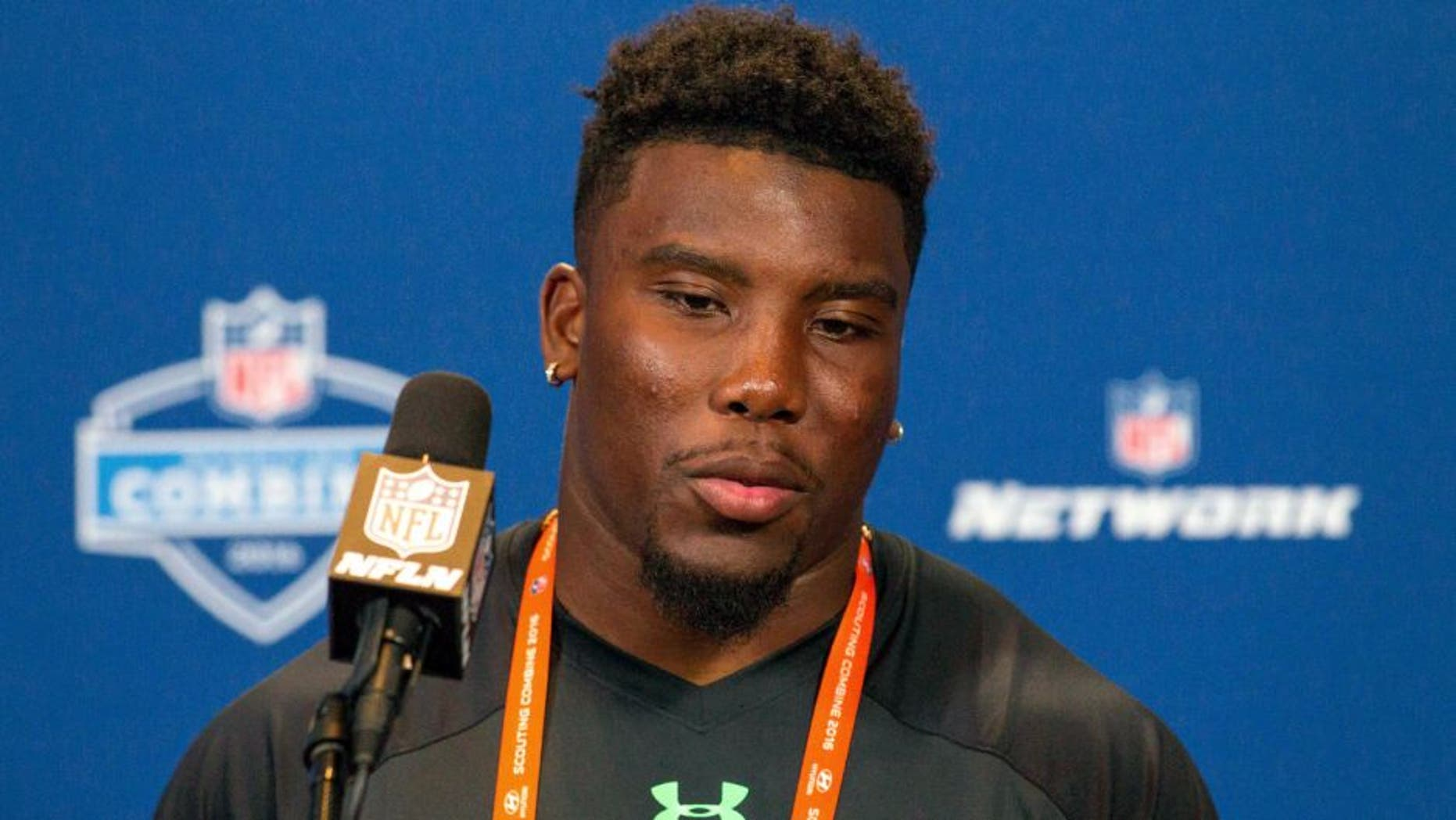 Feb 24, 2016; Indianapolis, IN, USA; Auburn Tigers running back Peyton Barber speaks to the media during the 2016 NFL Scouting Combine at Lucas Oil Stadium. Mandatory Credit: Trevor Ruszkowski-USA TODAY Sports