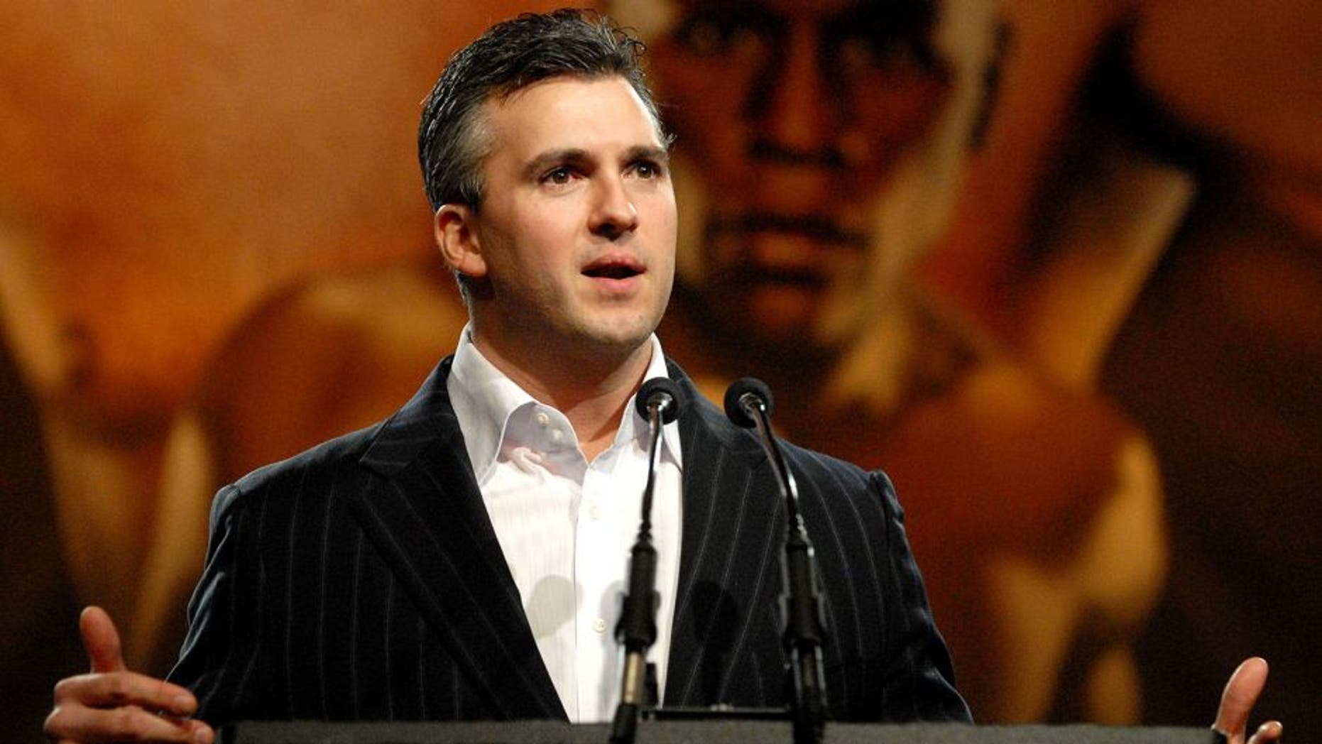 NEW YORK - MARCH 26: Shane McMahon speaks at a press conference for WrestleMania XXIV on March 26, 2008 at the Hard Rock Cafe in New York City. (Photo by Rob Loud/Getty Images)
