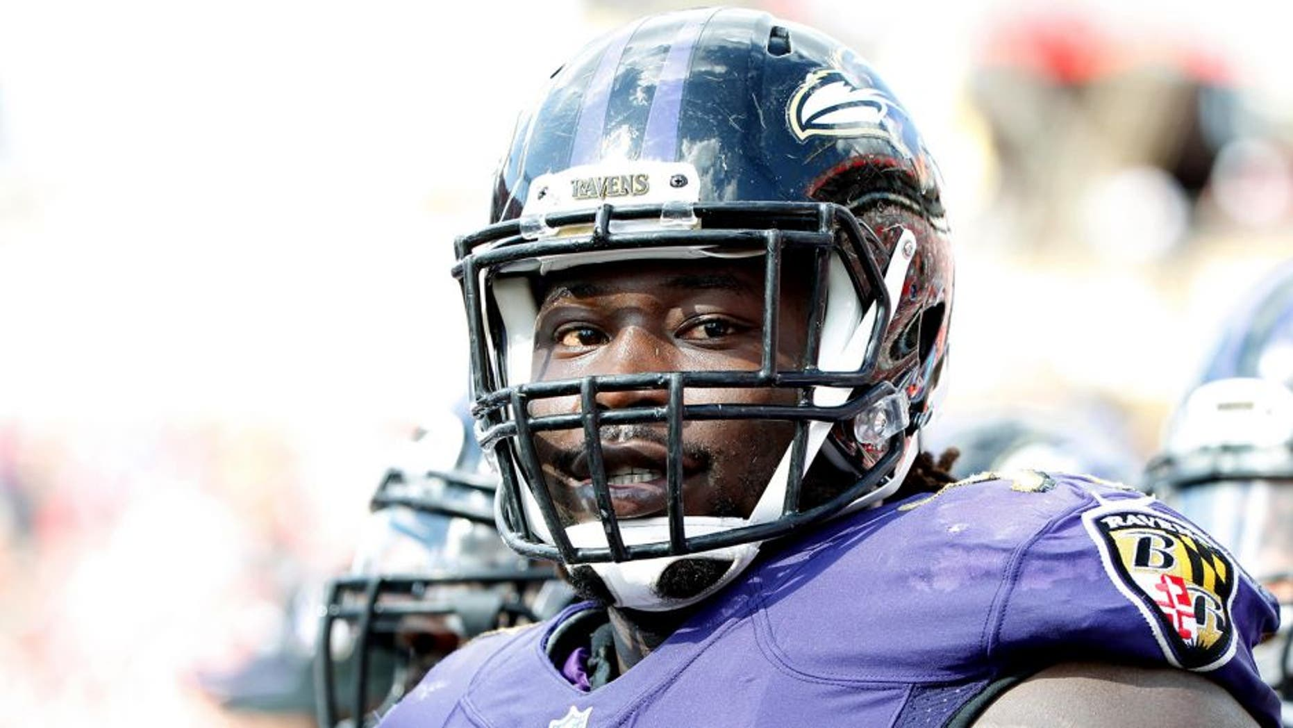 Oct 12, 2014; Tampa, FL, USA; Baltimore Ravens linebacker Pernell McPhee (90) against the Tampa Bay Buccaneers during the second half at Raymond James Stadium. Baltimore Ravens defeated the Tampa Bay Buccaneers 48-17. Mandatory Credit: Kim Klement-USA TODAY Sports