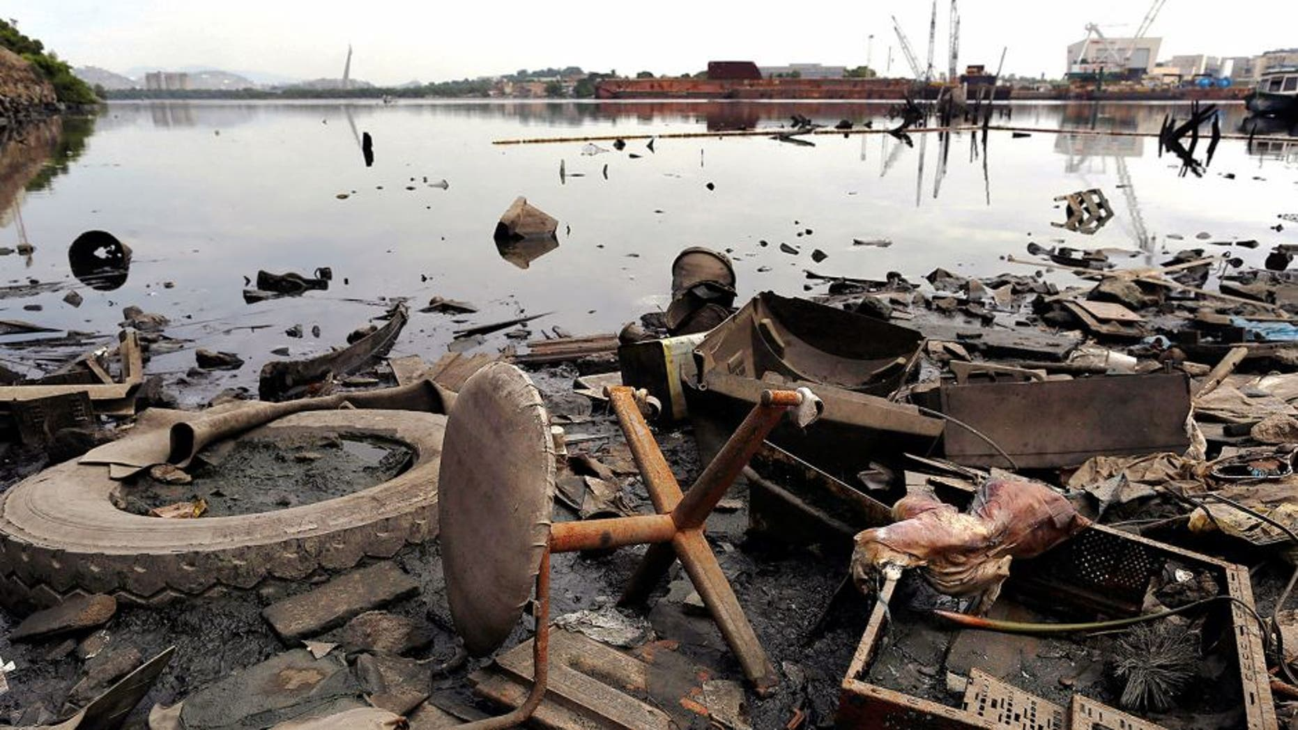 Trash litters the shore of Guanabara Bay in the Caju neighborhood of Rio de Janeiro, Brazil, Wednesday, Feb. 25, 2015. Rio de Janeiro's state environmental agency is trying to determine why thousands of dead fish have been found floating in waters where next year's Olympic sailing events are to be held. The fish were discovered Tuesday during a routine water testing of the sewage- and trash-filled bay. (AP Photo/Leo Correa)