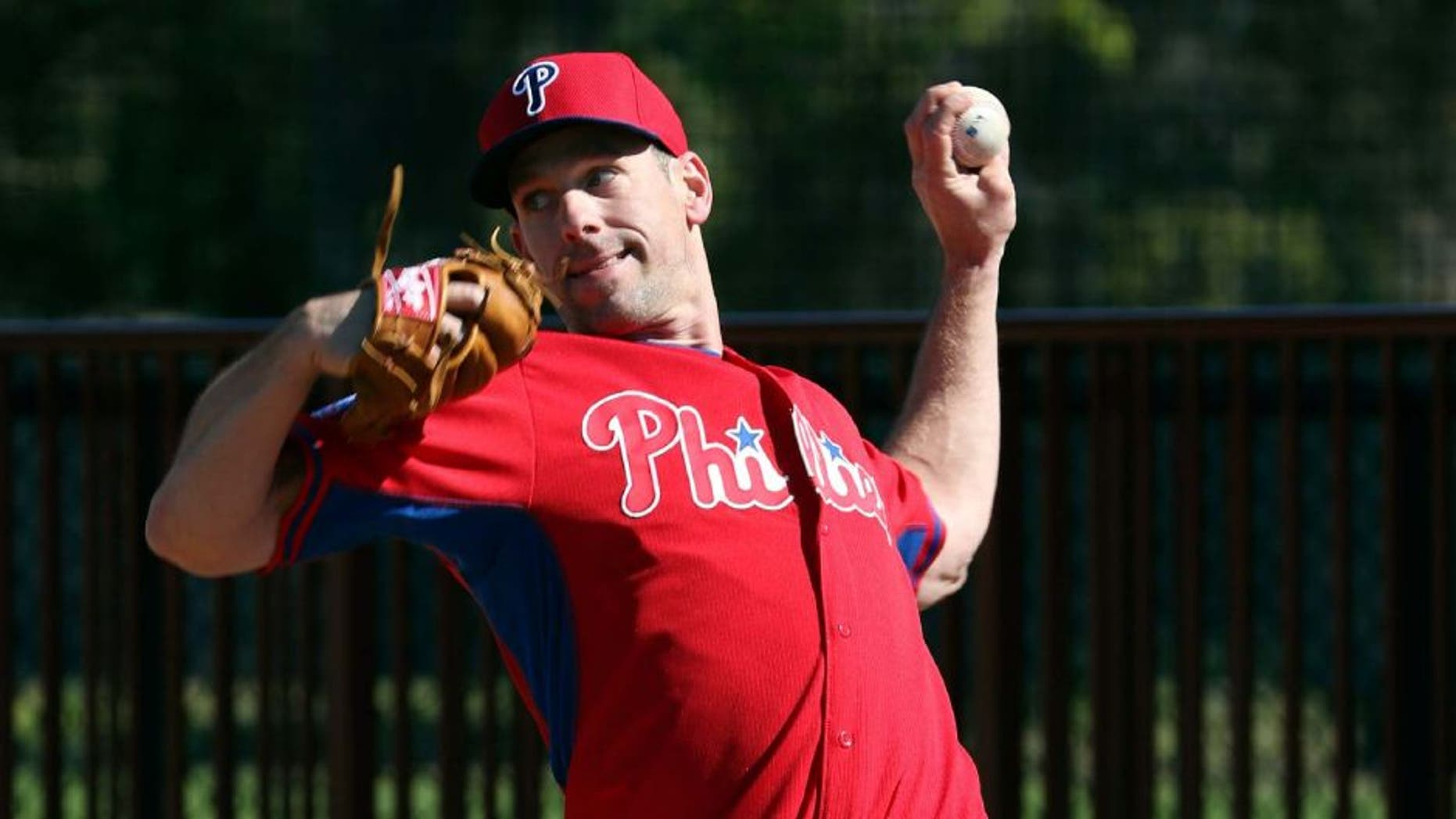 Feb 19, 2015; Clearwater, FL, USA; Philadelphia Phillies starting pitcher Cliff Lee (33) during spring training workouts at Bright House Field. Mandatory Credit: Reinhold Matay-USA TODAY Sports