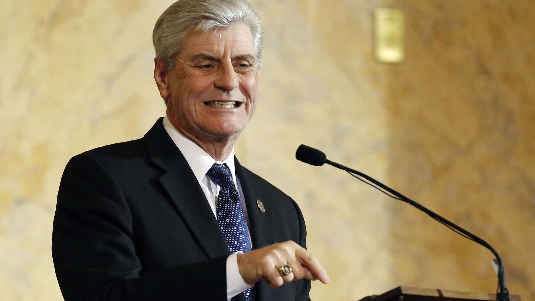 Jan. 26, 2016: Republican Gov. Phil Bryant delivers his State of the State address before a joint legislative session in House chambers at the Capitol in Jackson, Miss.