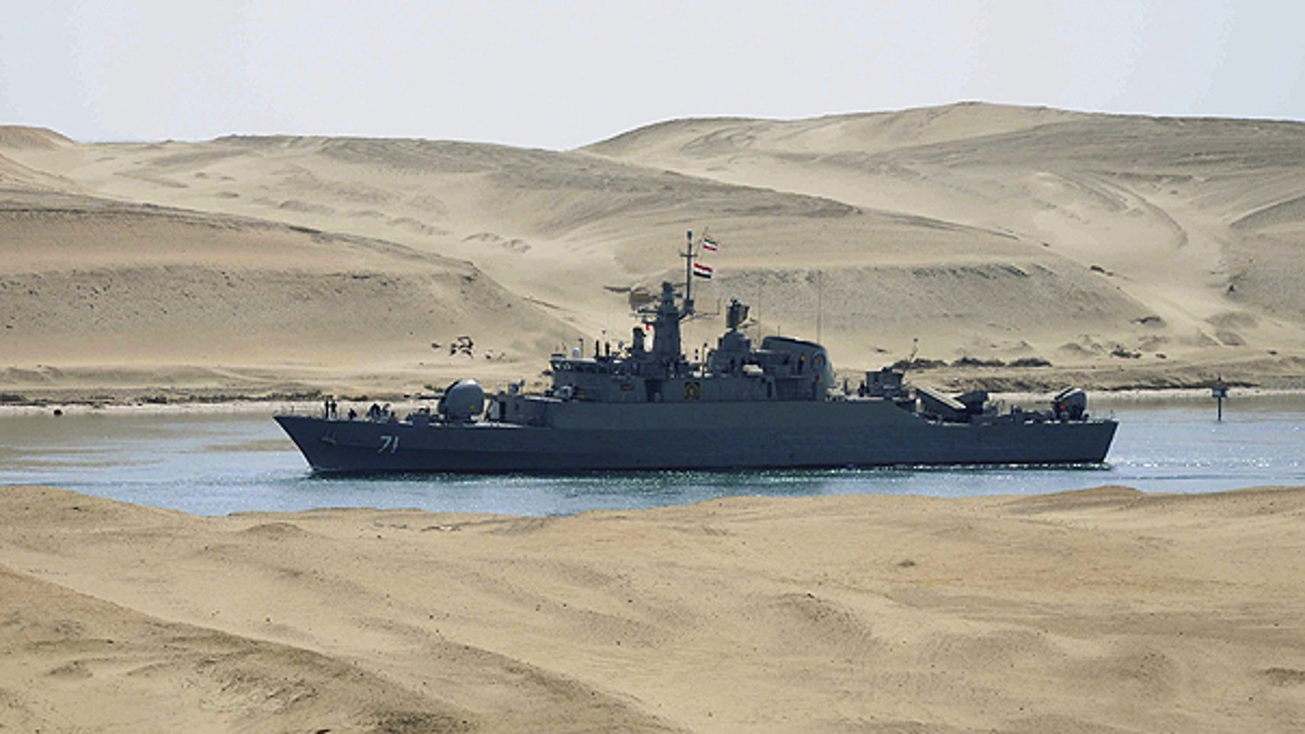 Feb. 22: The Iranian navy frigate IS Alvand passes through the Suez canal at Ismailia, Egypt.