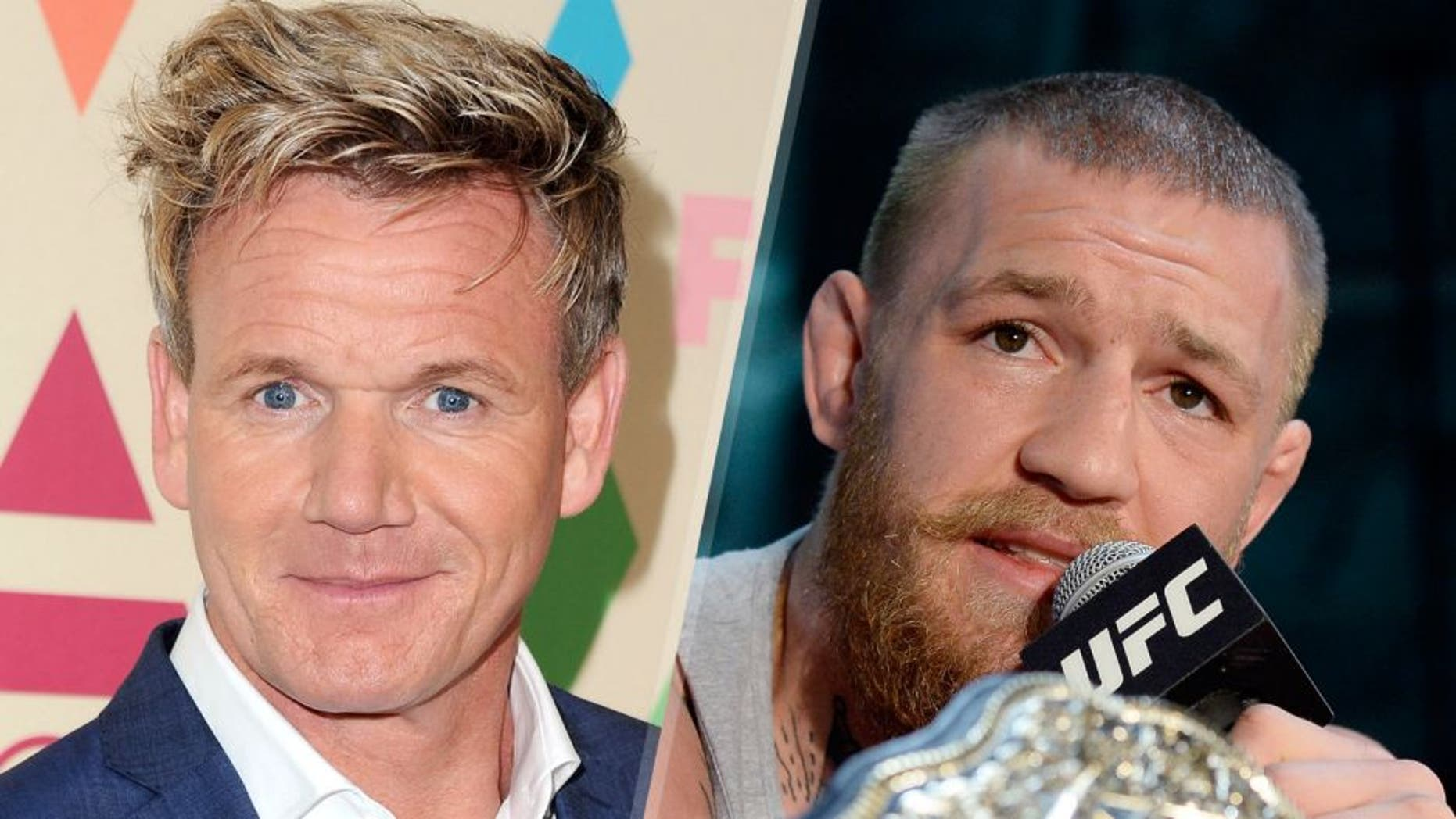 WEST HOLLYWOOD, CA - AUGUST 06: Gordon Ramsay arrives at the 2015 Summer TCA Tour FOX All-Star Party at Soho House on August 6, 2015 in West Hollywood, California. (Photo by Jon Kopaloff/FilmMagic) TORRANCE, CA - FEBRUARY 24: UFC featherweight champion Conor McGregor speaks during a news conference with lightweight contender Nate Diaz at UFC Gym February 24, 2016, in Torrance, California. (Photo by Kevork Djansezian/Getty Images)
