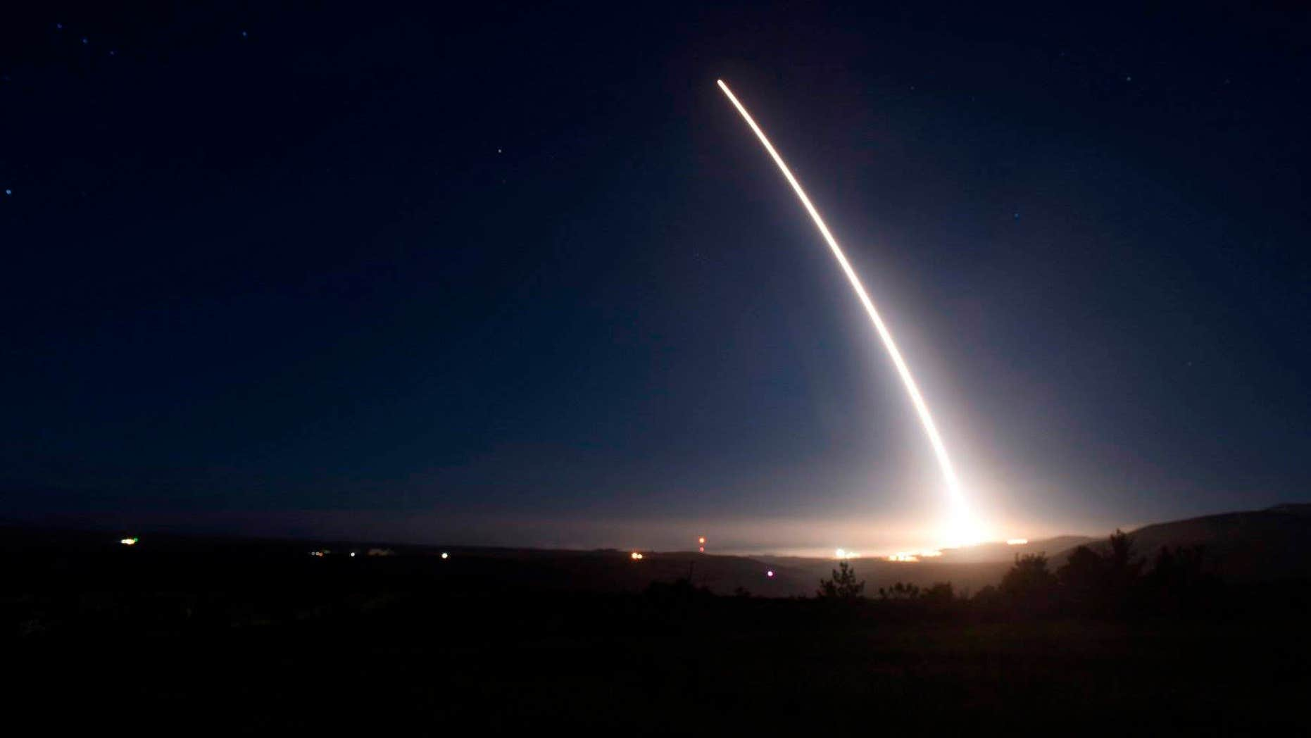 FILE - In this Saturday, Feb. 20, 2016 file photo provided by U.S. Air Force, an unarmed Minuteman III intercontinental ballistic missile launches during an operational test at Vandenberg Air Force Base, Calif.