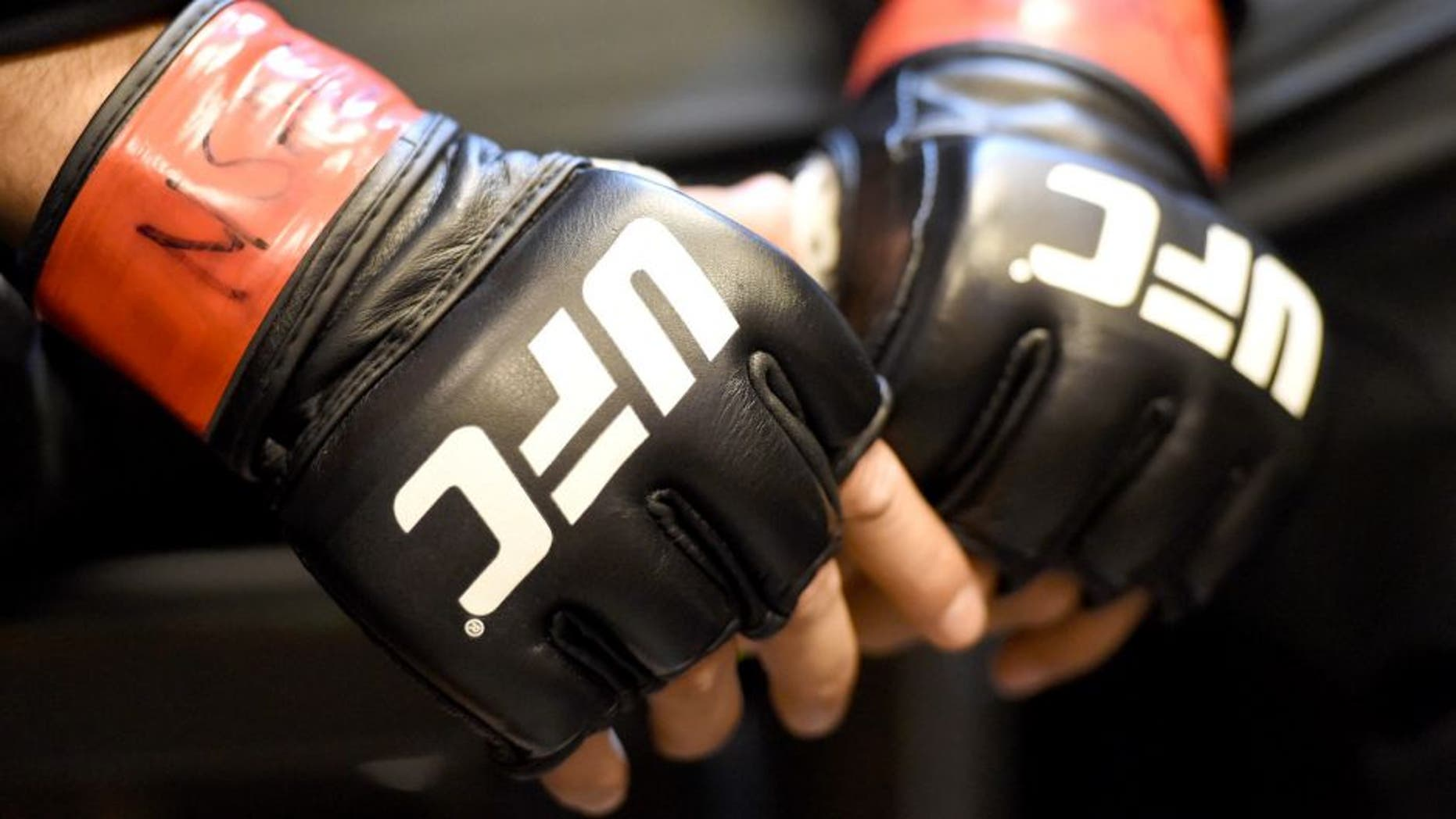 LAS VEGAS, NV - DECEMBER 12: A general view of UFC fight gloves backstage during the UFC 194 event inside MGM Grand Garden Arena on December 12, 2015 in Las Vegas, Nevada. (Photo by Mike Roach/Zuffa LLC/Zuffa LLC via Getty Images)