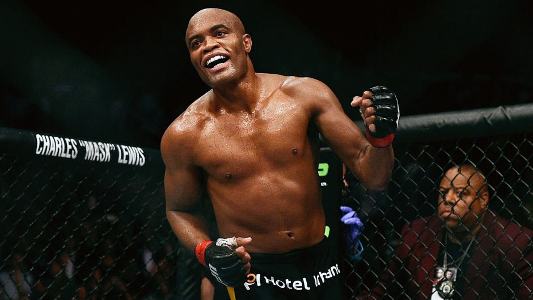 LAS VEGAS, NV - JANUARY 31: Anderson Silva reacts to his win over Nick Diaz in their middleweight bout during the UFC 183 event at the MGM Grand Garden Arena on January 31, 2015 in Las Vegas, Nevada. (Photo by Jeff Bottari/Zuffa LLC/Zuffa LLC via Getty Images)