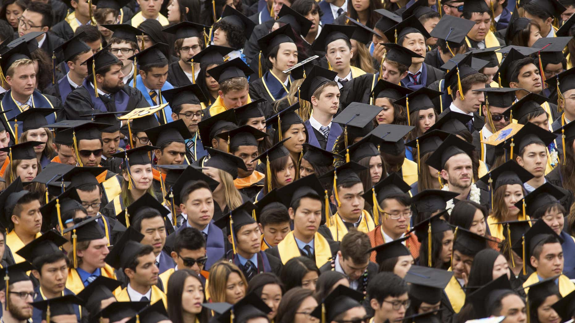 Graduates attend commencement at University of California, Berkeley in Berkeley.