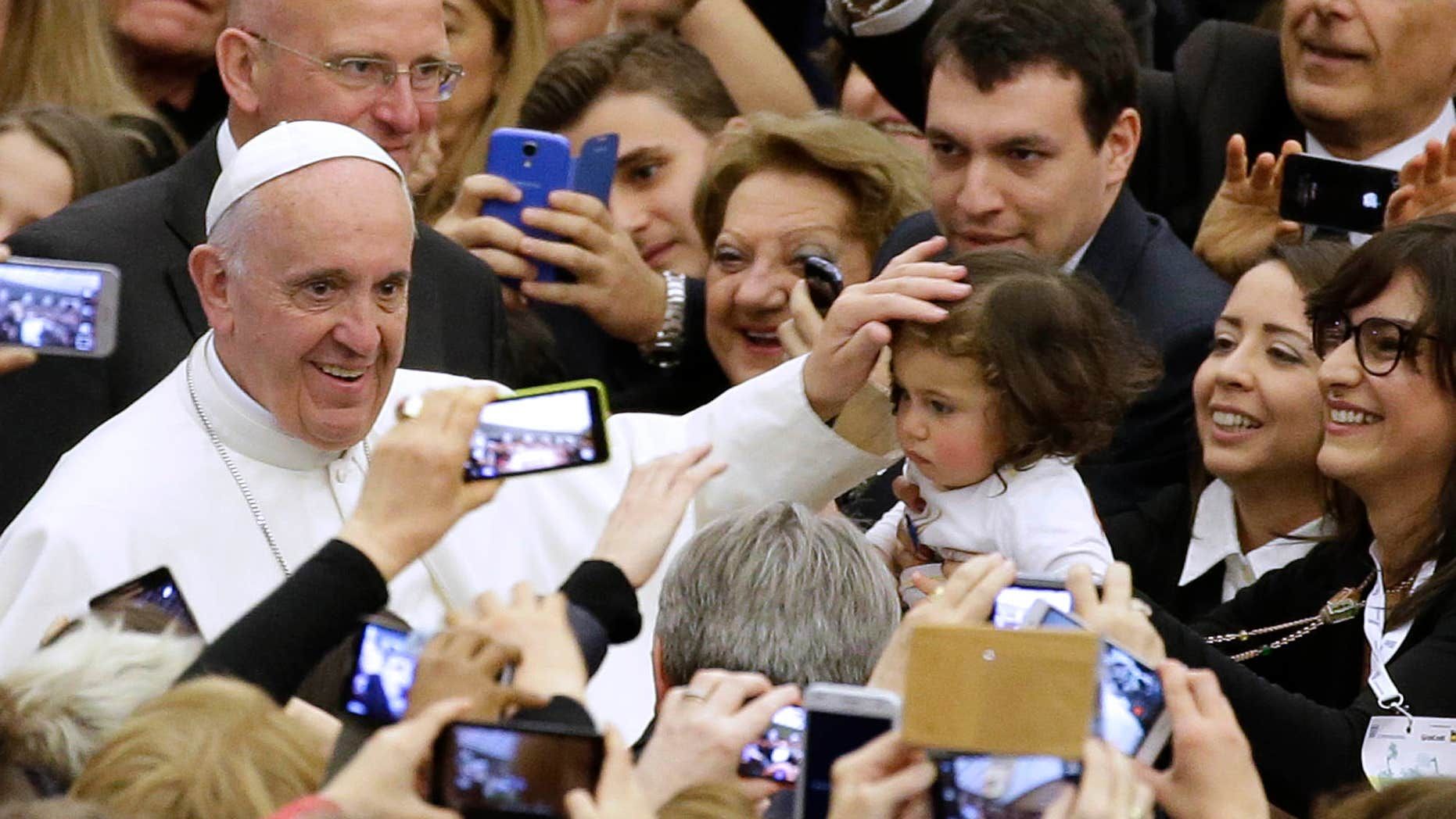 Feb. 27, 2016: Pope Francis meets with members of the Italian Entrepreneurs Association in the Paul VI hall at the Vatican.