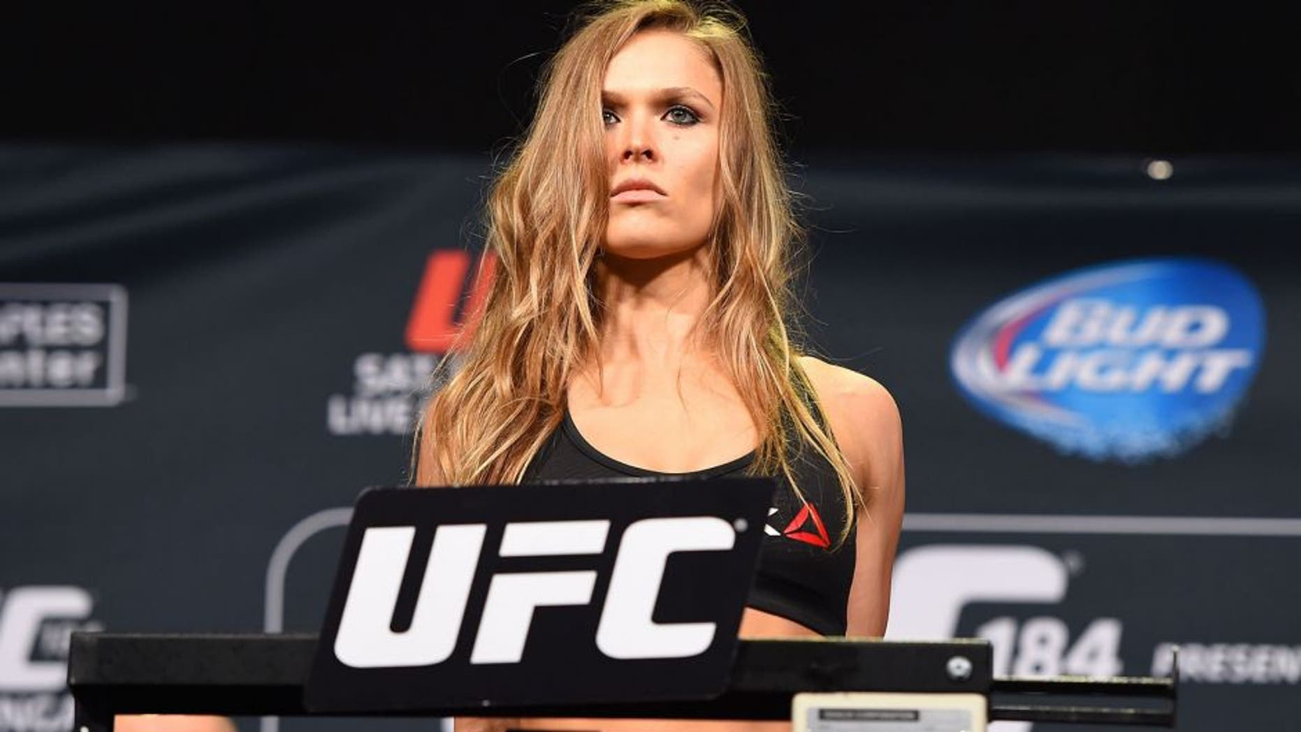LOS ANGELES, CA - FEBRUARY 27: Ronda Rousey weighs in during the UFC 184 weigh-in at the Event Deck and LA Live on February 27, 2015 in Los Angeles, California. (Photo by Josh Hedges/Zuffa LLC/Zuffa LLC via Getty Images)