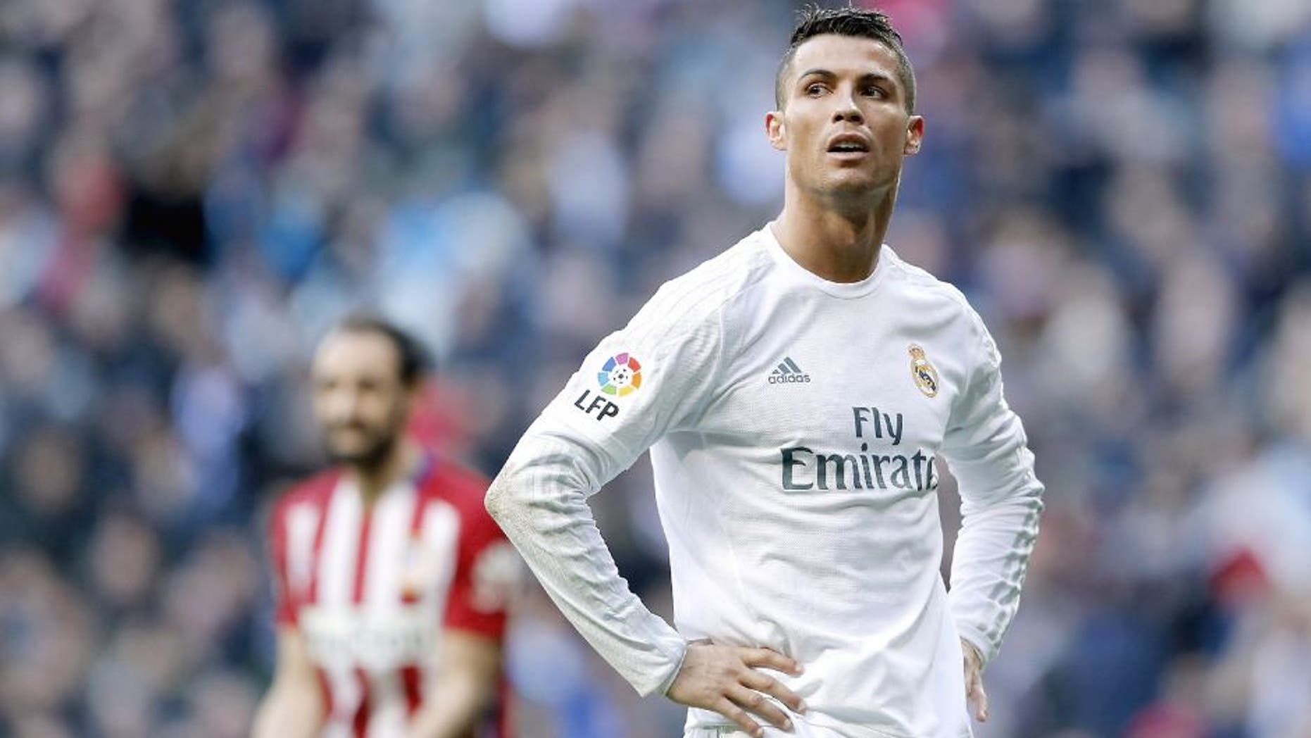 MADRID, SPAIN - FEBRUARY 27: Cristiano Ronaldo of Real Madrid reacts during the La Liga match between Real Madrid CF and Club Atletico de Madrid at Estadio Santiago Bernabeu on February 27, 2016 in Madrid, Spain. (Photo by Angel Martinez/Real Madrid via Getty Images)
