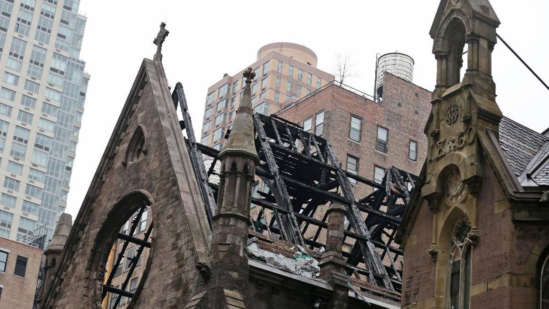 The remains of the Serbian Orthodox Cathedral of St. Sava are seen in New York, Monday, May 2, 2016. The historic church in New York City was destroyed in a raging fire Sunday just hours after its Orthodox worshippers celebrated Easter. Authorities reported one minor injury in the blaze. (AP Photo/Seth Wenig)