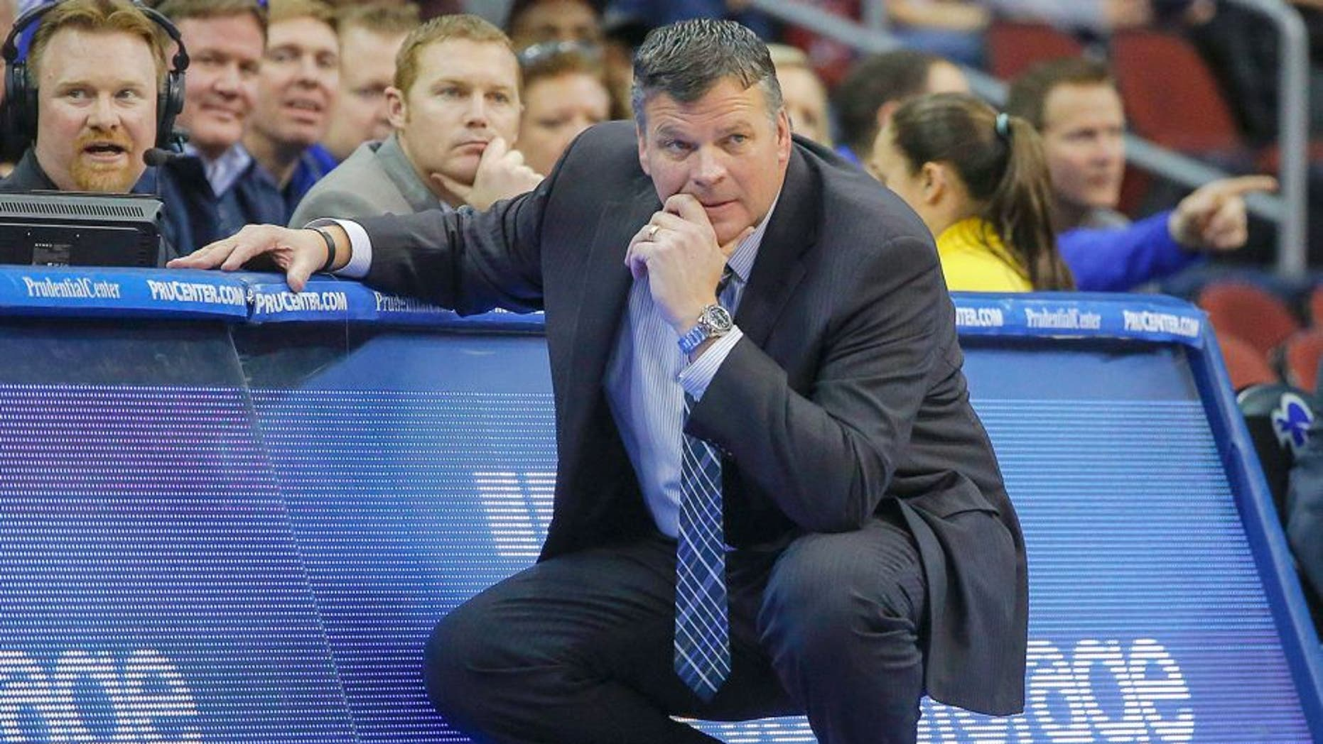 Feb 28, 2015; Newark, NJ, USA; Creighton Bluejays head coach Greg McDermott during the first half of game against the Seton Hall Pirates at the Prudential Center. Mandatory Credit: Jim O'Connor-USA TODAY Sports