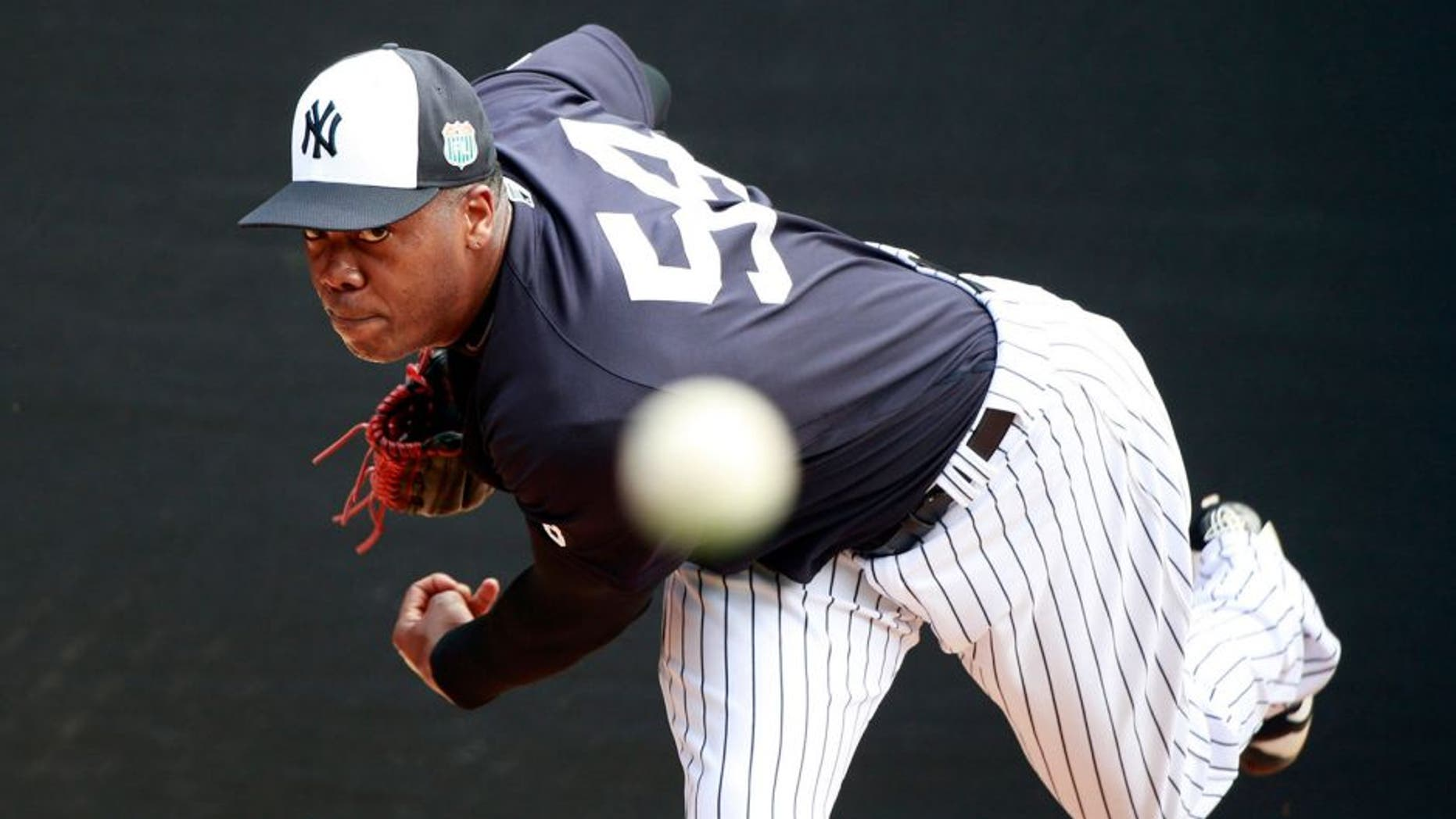 Feb 29, 2016; Tampa, FL, USA; New York Yankees relief pitcher Aroldis Chapman (54) pitches in live batting practice at George M. Steinbrenner Stadium. Mandatory Credit: Butch Dill-USA TODAY Sports