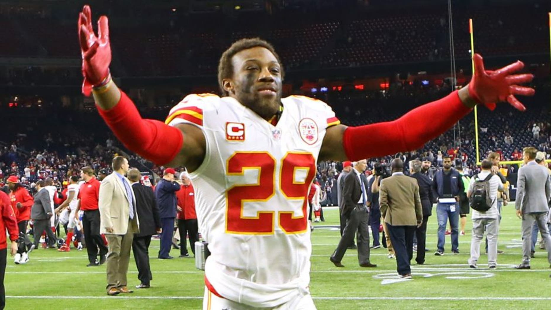 Jan 9, 2016; Houston, TX, USA; Kansas City Chiefs free safety Eric Berry (29) celebrates after defeating the Houston Texans in a AFC Wild Card playoff football game at NRG Stadium. Kansas City won 30-0. Mandatory Credit: Troy Taormina-USA TODAY Sports