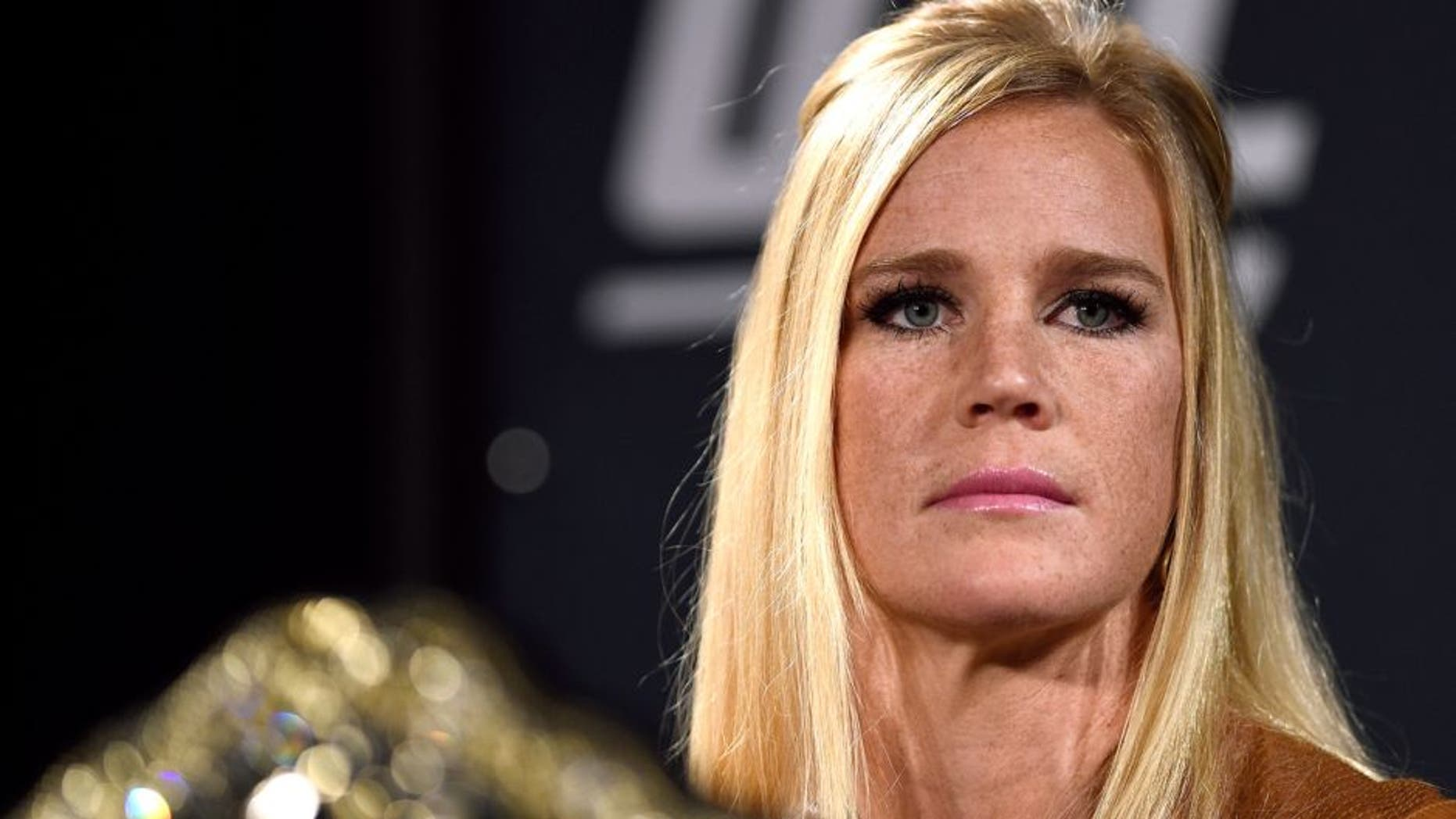 LAS VEGAS, NV - JANUARY 20: UFC women's bantamweight champion Holly Holm interacts with the media during the UFC 197 on-sale press conference event inside MGM Grand Hotel & Casino on January 20, 2016 in Las Vegas, Nevada. (Photo by Jeff Bottari/Zuffa LLC/Zuffa LLC via Getty Images)
