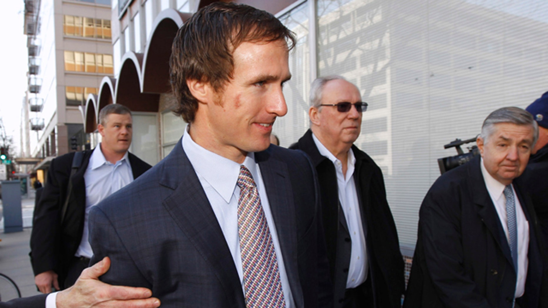 March 2: New Orleans Saints quarterback Drew Brees arrives for football labor negotiations with the NFL involving a federal mediator in Washington.