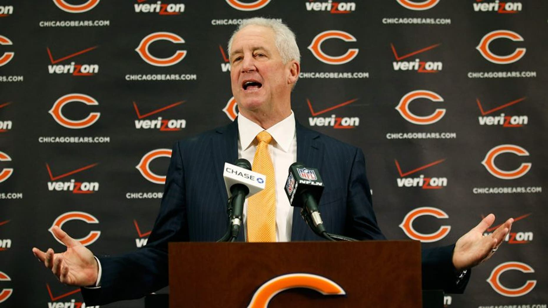 Jan 19, 2015; Lake Forest, IL, USA; New Chicago Bears head coach John Fox speaks during a press conference at Mugs Halas Auditorium. Mandatory Credit: Kamil Krzaczynski-USA TODAY Sports