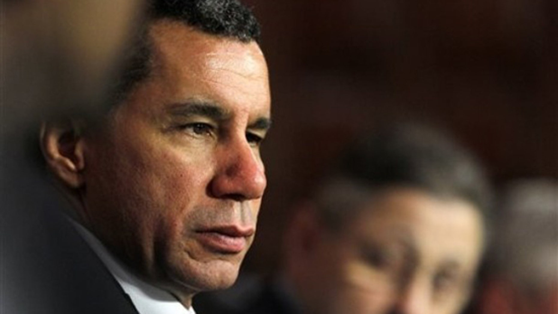 New York Gov. David Paterson listen to a speaker during a legislative leaders' budget meeting at the Capitol in Albany, N.Y. , on Wednesday, March 3, 2010. (AP)