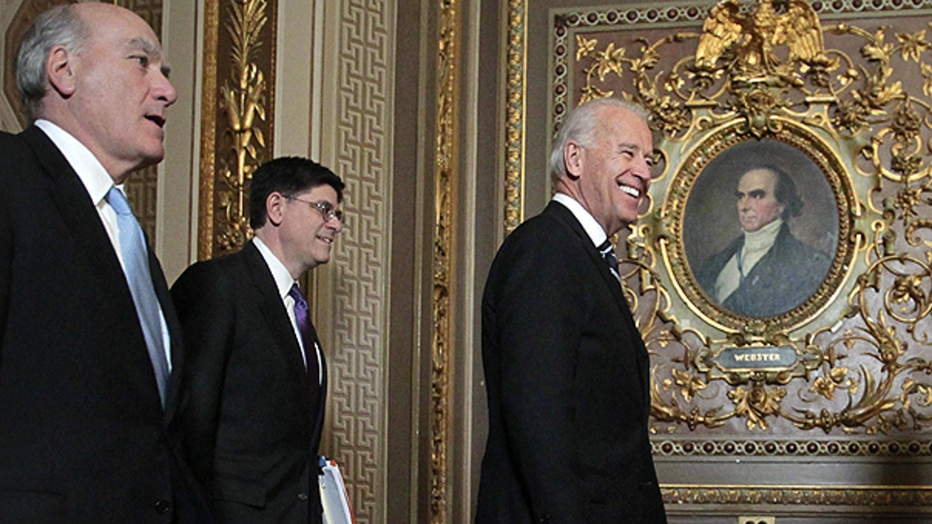 March 3: Vice President Joe Biden arrives to meet with House and Senate leaders to discuss the federal budget, at the Capitol in Washington.