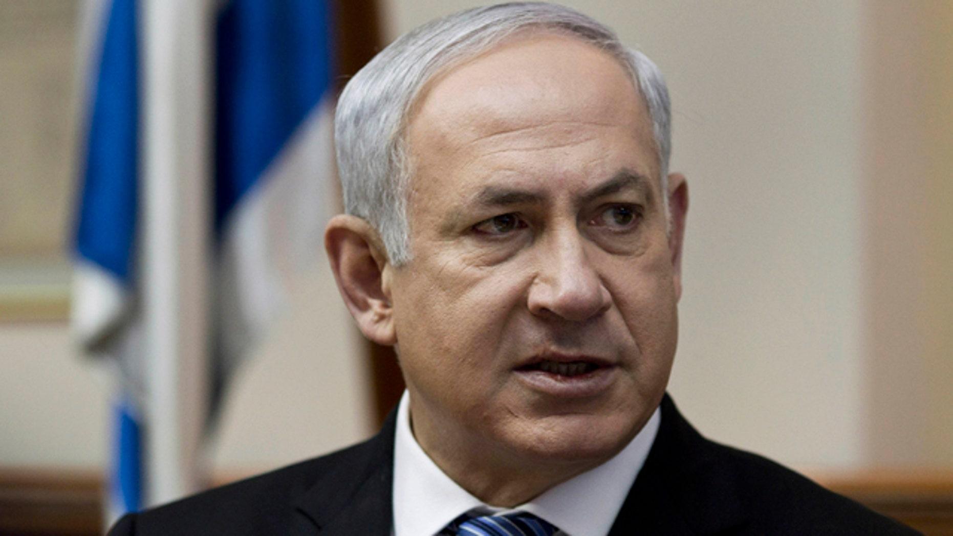 Feb. 27: Israeli Prime Minister Benjamin Netanyahu speaks as he chairs the weekly cabinet meeting in his Jerusalem office.