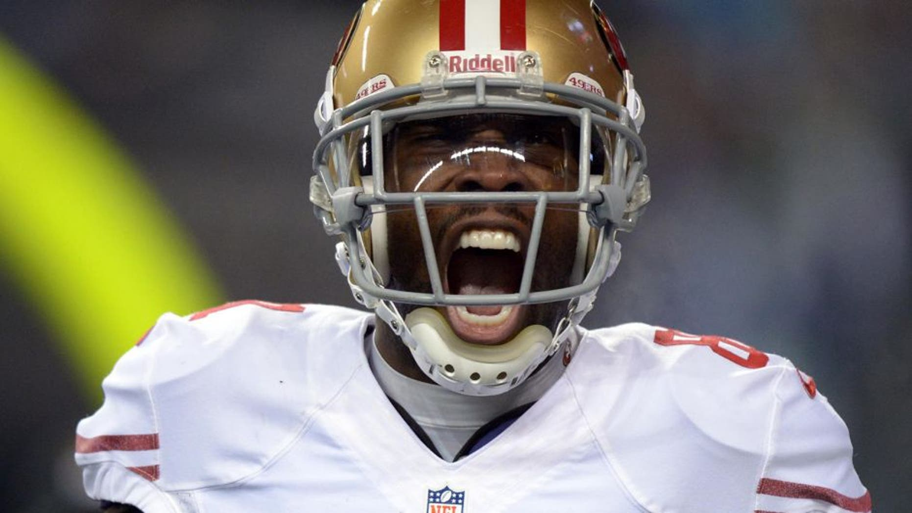 Jan 19, 2014; Seattle, WA, USA; San Francisco 49ers wide receiver Anquan Boldin (81) celebrates after catching a touchdown pass against the Seattle Seahawks in the third quarter of the 2013 NFC Championship football game at CenturyLink Field. Mandatory Credit: Kirby Lee-USA TODAY Sports