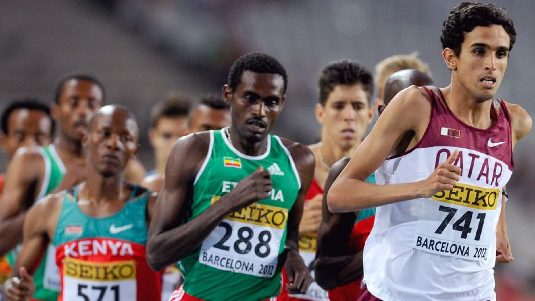 BARCELONA, SPAIN - JULY 12: Hamza Driouch of Qater leads the Men's 1500 metres Final on the day three of the 14th IAAF World Junior Championships at Estadi Olimpic Lluis Companys on July 12, 2012 in Barcelona, Spain. (Photo by David Ramos/Getty Images)