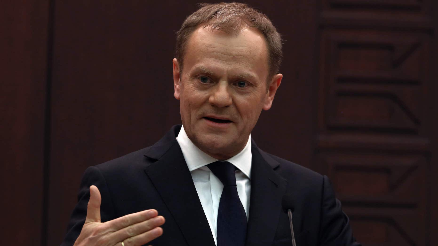 March 3, 2016: European Council President Donald Tusk speaks to the media during a joint press conference with Turkish Prime Minister Ahmet Davutoglu in Ankara, Turkey.
